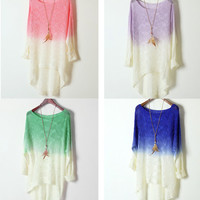 Colorful GRADIENT THIN CUTE Colorful  SWEATER