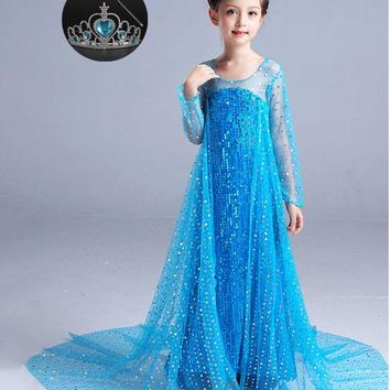 Fashion Children's Princess Birthday Party Ball Gown Elsa Cape + Dress Halloween Costumes for Girls Princess-disguise