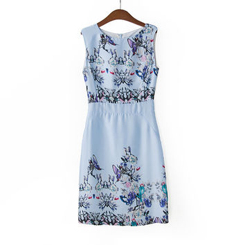 Faux Flowers Print Sleeveless Sheath Mini Dress