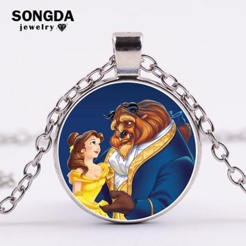 SONGDA Movie Jewelry Beauty and the Beast Prom Long Necklace Belle Princess and Prince Glass Charm Pendant Necklace Women Gift