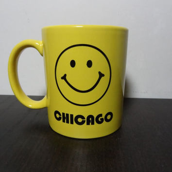 "Vintage Liquid Logic Smiley Face ""Chicago"" Mug - Yellow Smiley Face Ceramic Coffee Mug"