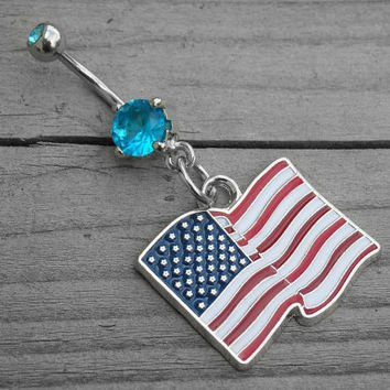 Red White and Blue American Flag Jewel Belly Button Ring Navel Piercing USA Pride Patriotic 4th of July Southern Country Girl Body Jewelry