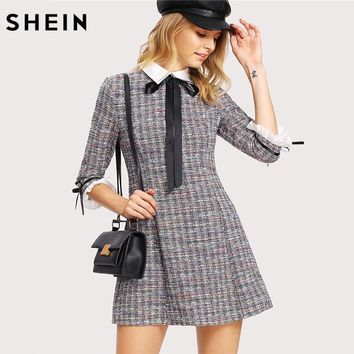 SHEIN Women Dress Multicolor Three Quarter Length Sleeve A Line Dress Fit and Flare Contrast Collar and Cuff Tweed Dress