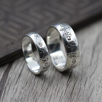 925 Sterling Silver Six Words Om Mani Padme Hum Rings For Couple Lovers Tibetan Shurangama Mantra Rings Buddhism Jewelry