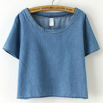 Blue Denim Short Sleeve Cropped Top