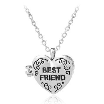 BFF Necklace Openable Photo Frame Heart Pendant Best Friend Carved Necklace Silver Exquisite Decorative Jewelry Choker Necklace