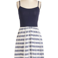 ModCloth Mid-length Spaghetti Straps A-line PliC)s and Thank You Dress in Navy Stripes
