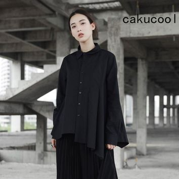 Women Solid Black Long Sleeve Asymmetric Pleated Blouse