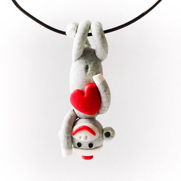 Traditional Gray Sock Monkey Pendant with Heart by MagicByLeah