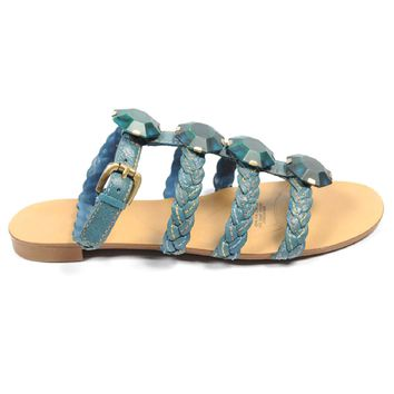 Nine West Womens Ankle Strap Flat Sandal NWRADIOWAVE MEDIUM BLU
