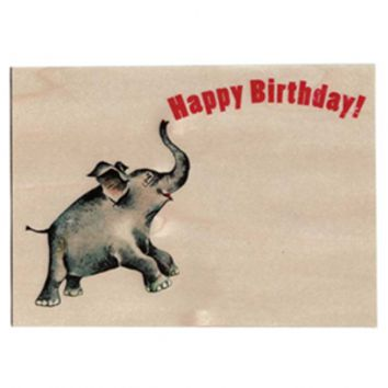 Happy Birthday Elephant Wood Card