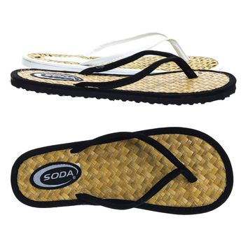 Spade Black by Soda, Slip On Tatami Thong Sandal w Straw Mat Insole & Colored Outsole & Strap