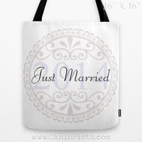"Wedding CUSTOM ""Just Married"" Tote Bag Graphic Print White Something Blue Classic Marriage The Big Day Bridal Elegant Carryall Party Bride"