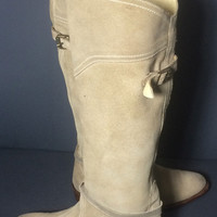 Frye 77562 Dorado Riding Beige Leather Motorcycle Riding Biker Boots Women's Size 6