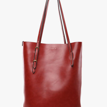 Smooth Leather Tall Tote Bag