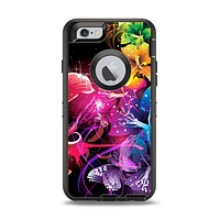 The Abstract Bright Neon Floral Apple iPhone 6 Otterbox Defender Case Skin Set