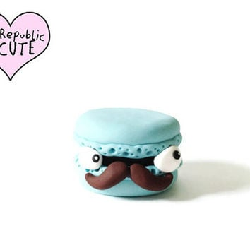 Blue macaron with moustache