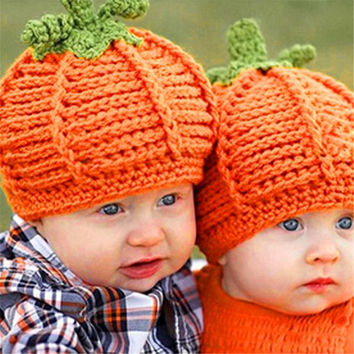 Lovelyborn Baby Boys Girls Pumpkin Cap Handmade Knitted Crochet Hat Halloween Costume Photography Prop Children INY66