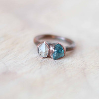 Raw Zircon Ring Herkimer Diamond Ring Blue Crystal Ring Rough Stone Raw Stone Ring Crystal Ring Mineral Ring Copper Ring Size 6