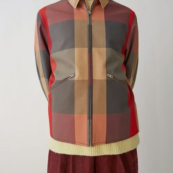 Red Cropped Checker Jacket by Acne Studios