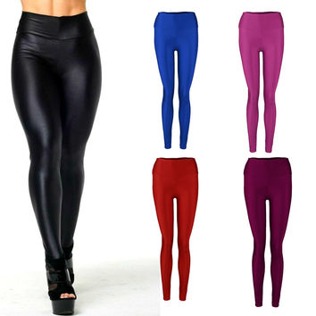 Women Pants Shiny Elastic High Waist Stretchy Candy Colors Ladies Dance