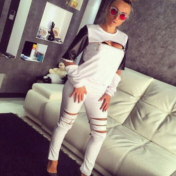 PU Zipper Long Sleeves T-shirt Pants Casual Two Pieces Sports Suit