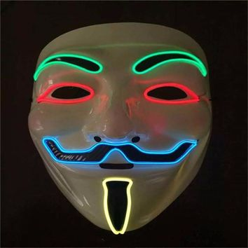 Hot Sale Flashing El Wire Mask Led Glowing Beauty Christmas Party Mask Festival Event Haloween Light Up Stage Dance Masks