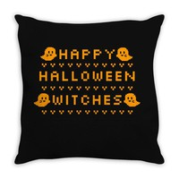 happy halloween witches Throw Pillow