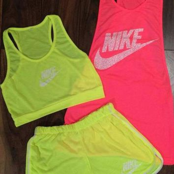 DCCKL72 3 pcs set 'Nike' Fluorescent vest shorts Movement Set