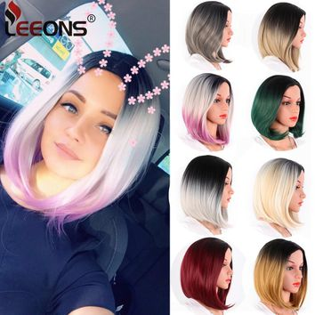 Leeons African American Bob Wigs Short Straight Wigs For Black Women Shoulder Length Heat Resistant Synthetic Black Brown Blonde