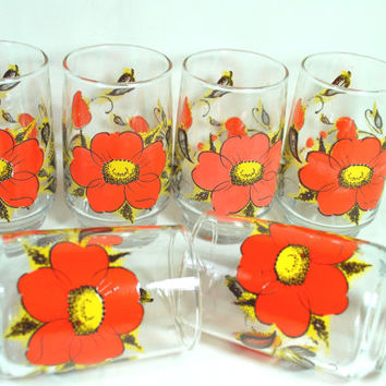 Water glasses with orange and yellow flowers , juice or water set of glasses Flower Power style