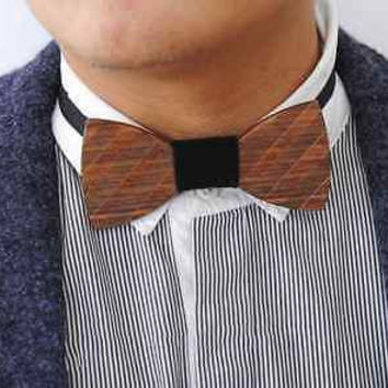 Pure Handmade Natural Wood Tie 100% Solid Fashion Wedding Bow Ties for Leisure