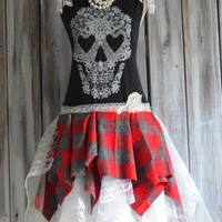 Halloween Skull dress, Street chic fall tartan plaid, Romantic goth fall dresses, gothic princess lace skull, lagenlook, true rebel clothing