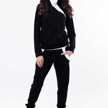 Black and white sports set / Tracksuit/ Jacket / Extravagant Black Trousers / Casual cotton jacket and pants