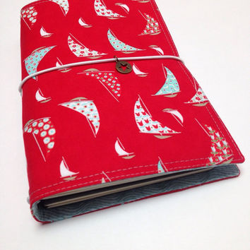 Fabric Fauxdori Travelers Notebook Travel Journal Planner Cover Midori style with a charm - sailboats on red- Wide Size, wide fauxdori