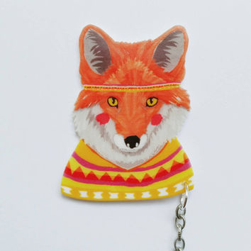 24 HOUR SALE - Fox in a poncho // fox sweater clips // collar clips // fox accessories