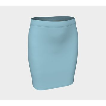 Solid Fitted Skirt - Light Blue