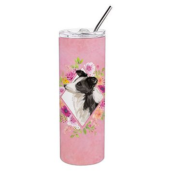 Border Collie Pink Flowers Double Walled Stainless Steel 20 oz Skinny Tumbler CK4258TBL20