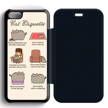 Pusheen Cat Eat Etiquette Leather Wallet Flip Case iPhone 5C