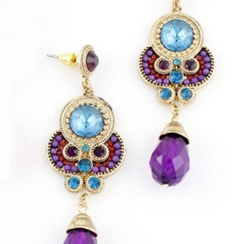 Blue Purple Gemstone Gold Vintage Earrings = 1946667268