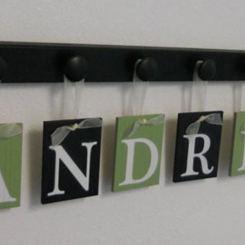 Children Wall Decor ANDRES Personalized Nursery Name Sign Includes 6 Hooks Black and Green. Simple Bedroom Decorating Ideas