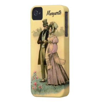 Personalized Cute Vintage Image of Regency Couple iPhone 4 Case