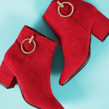 Bamboo Hoop Ornament Suede Chunky Heeled Booties