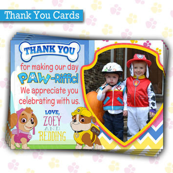 Paw Patrol Birthday Party THANK YOU cards  | Skye & Rubble | Twins or Siblings Joint Birthday | Printable, Picture Thank You notes