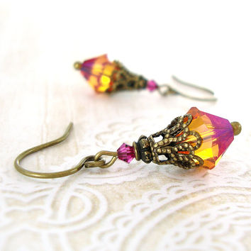 Colorful Swarovski Crystal Earrings - Pink Topaz Vintage Style Brass Filigree Victorian Earrings Renaissance Fuchsia Crystal Earrings