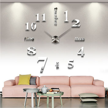 Quartz clocks fashion watches 3d real big wall clock rushed mirror sticker diy living room decor