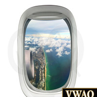 Commercial Airplane View Wall Decal Beach Scene Sky Clouds Mural Peel and Stick Aviation Decor PW8