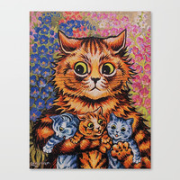 Cat and Her Kittens-Louis Wain Cats Canvas Print by digitaleffects