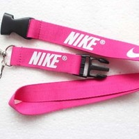 Nike Lanyard Key Chain ID Strap Bright Pink White ☆FREE USA SHIPPING ☆NEW