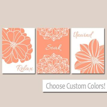 BATHROOM DECOR. WALL Art, Canvas or Print Flower Art Bathroom Wall Decor, Peach Gray Relax Soak Unwind, Quote Words Flower Decor, Set of 3